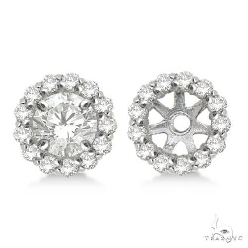 Round Diamond Earring Jackets for 4mm Studs 14K White Gold Stone