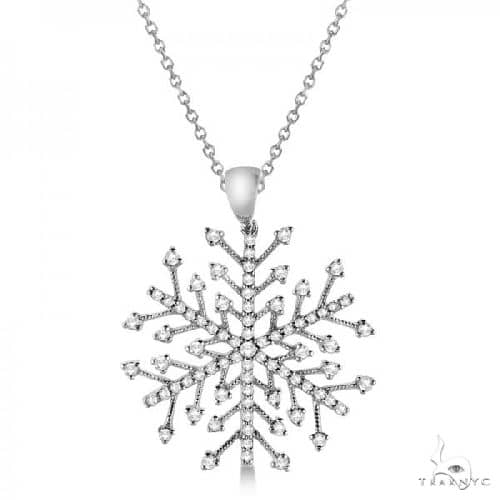 Diamond Snowflake Pendant Necklace in 14K White Gold Stone