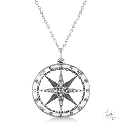 Compass Necklace Pendant Diamond Accented 14k White Gold Stone
