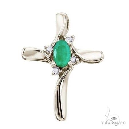 Emerald and Diamond Cross Necklace Pendant 14k White Gold Stone