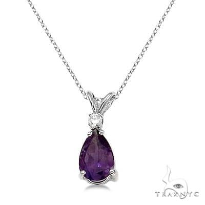 Pear Amethyst and Diamond Solitaire Pendant Necklace 14k White Gold Stone