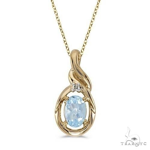 Oval Aquamarine and Diamond Pendant Necklace 14k Yellow Gold Stone
