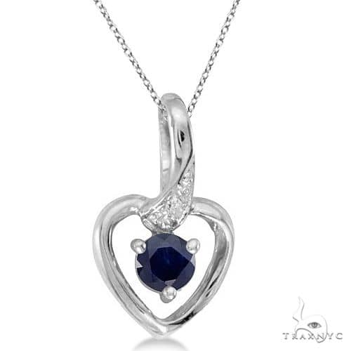 Blue Sapphire and Diamond Heart Pendant Necklace 14k White Gold Stone