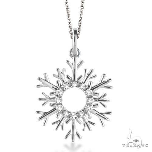 Snowflake Diamond Pendant Necklace 14k White Gold Stone