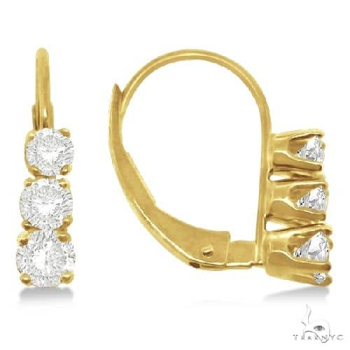 Three-Stone Leverback Diamond Earrings 14k Yellow Gold Stone