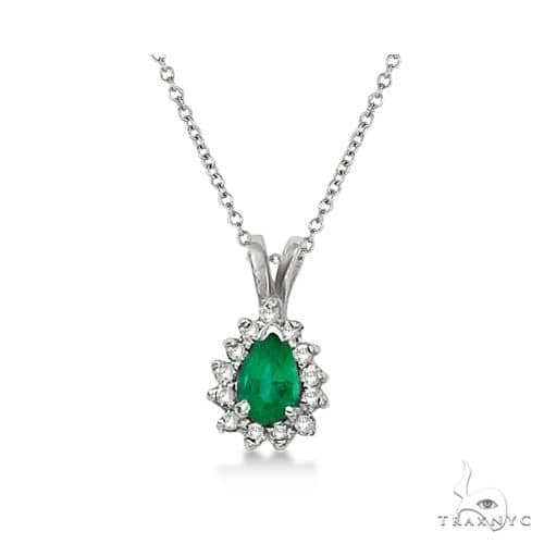 Pear Emerald and Diamond Pendant Necklace 14k White Gold Stone