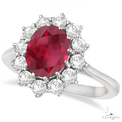 Oval Ruby and Diamond Ring 14k White Gold Anniversary/Fashion