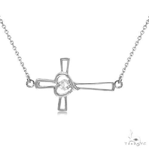 Open Heart Diamond Sideways Cross Necklace 14K White Gold (.01ct) Stone