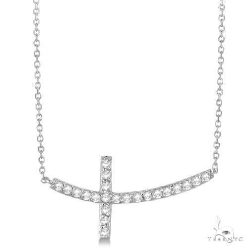 Diamond Sideways Curved Cross Pendant Necklace 14k White Gold Stone