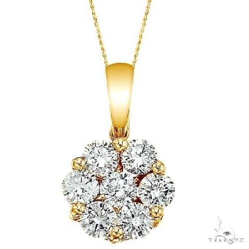 Diamond Cluster Flower Pendant Necklace in 14k Yello Gold Stone