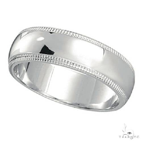 Mens Wedding Band Dome Comfort-Fit Miligrain 14k White Gold (5 mm) Metal