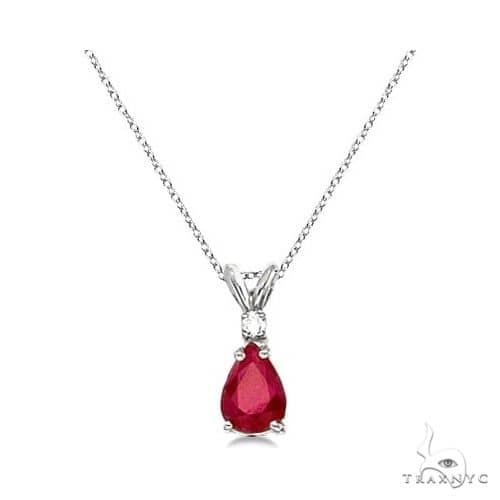 Pear Ruby and Diamond Solitaire Pendant Necklace 14k White Gold Stone