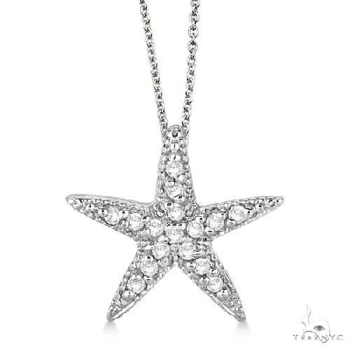 Starfish Shaped Diamond Pendant Necklace 14k White Gold Stone