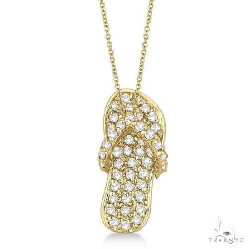 Diamond Flip Flop Pendant Necklace 14k Yellow Gold Stone
