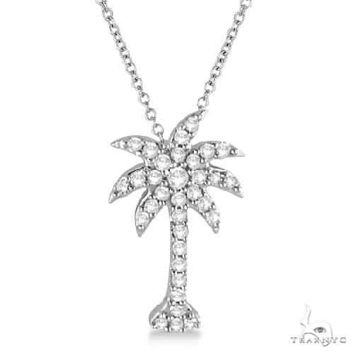 Palm Tree Shaped Diamond Pendant Necklace 14k White Gold (1/4ct) Stone