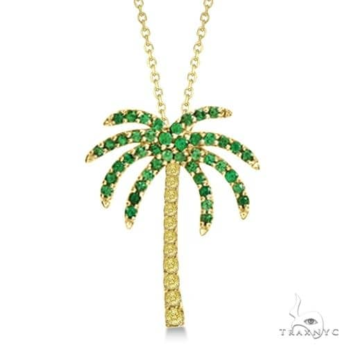 Tsavorite and Yellow Sapphire Palm Tree Necklace 14k Yellow Gold (0.30ct) Stone