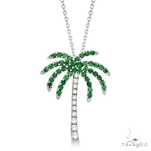 Tsavorite and Diamond Palm Tree Necklace 14k White Gold (0.30ct) Stone