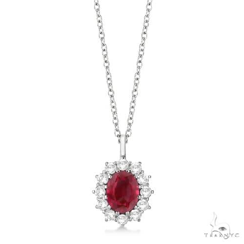 Oval Ruby and Diamond Pendant Necklace 14k White Gold Stone