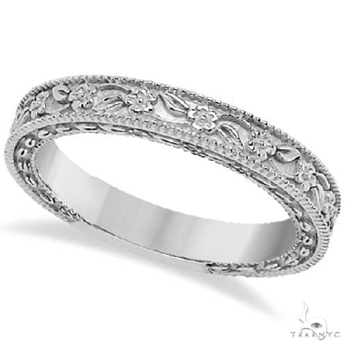 Carved Floral Designed Wedding Band Anniversary Ring in 14K White Gold Anniversary/Fashion