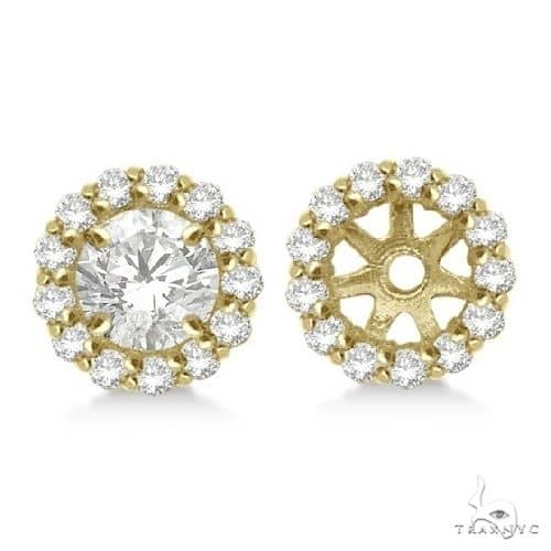 Round Diamond Earring Jackets for 5mm Studs 14K Yellow Gold Stone
