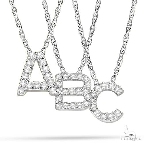 Petite Pave Diamond Initial Pendant Necklace 14k White Gold Stone