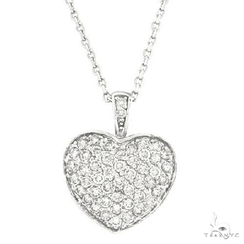 Diamond Puffed Heart Pendant Necklace in 14k White Gold Stone