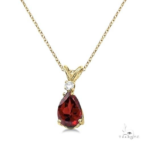 Pear Garnet and Diamond Solitaire Pendant Necklace 14k Yellow Gold Stone