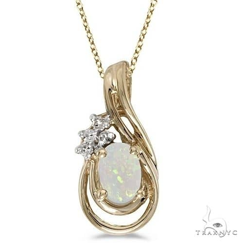 Oval Opal and Diamond Teardrop Pendant Necklace 14k Yellow Gold Stone