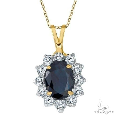 Blue Sapphire and Diamond Accented Pendant 14k Yellow Gold Stone