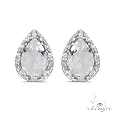 Pear White Topaz and Diamond Stud Earrings 14k White Gold (1.70ct) Stone