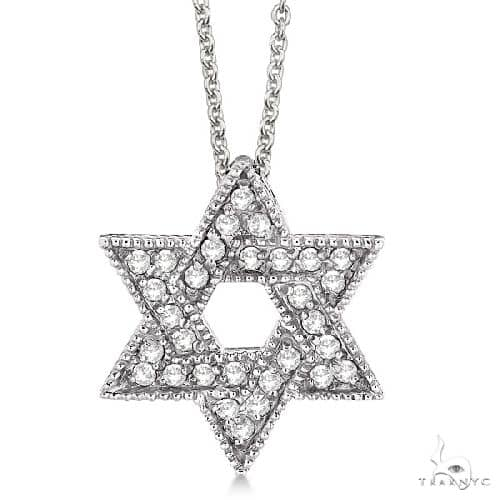 Jewish Star of David Diamond Pendant Necklace 14k White Gold Stone