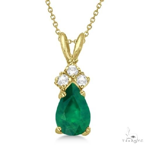 Pear Emerald and Diamond Solitaire Pendant 14k Yellow Gold Stone