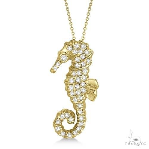 Diamond Seahorse Pendant Necklace 14k Yellow Gold Stone