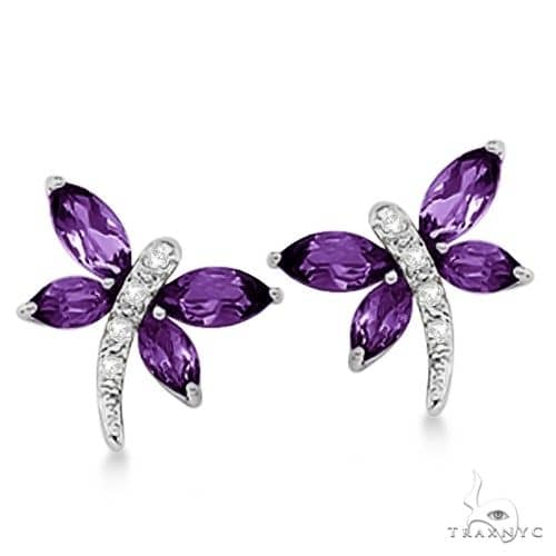 Diamond and Amethyst Dragonfly Earrings 14k White Gold Stone