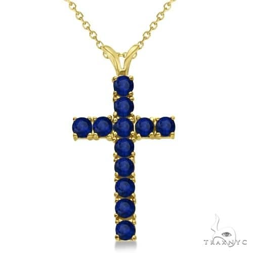 Blue Sapphire Cross Pendant Necklace 14K Yellow Gold Stone