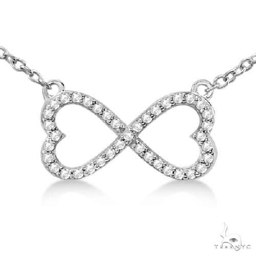 Pave Infinity Heart Diamond Pendant Necklace 14k White Gold Stone