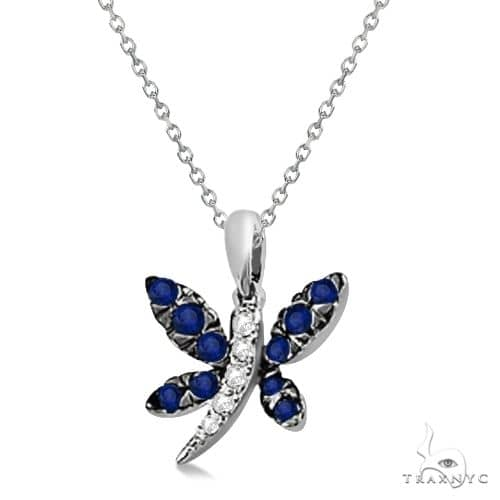 Blue Sapphire and Diamond Dragonfly Pendant 14K White Gold Stone