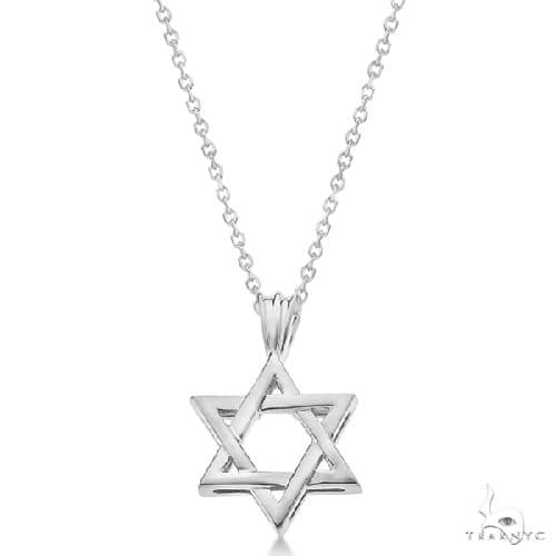 Classic Jewish Star of David Pendant Necklace Solid 14k White Gold Gold