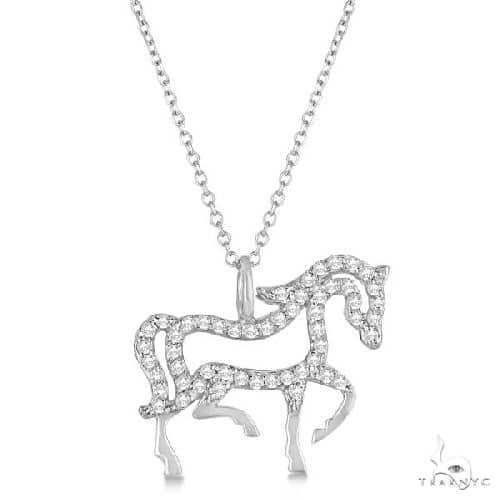 Diamond Galloping Horse Pendant Necklace 4k White Gold Stone