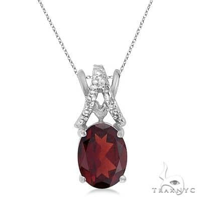 Garnet and Diamond Solitaire Pendant 14k White Gold Stone