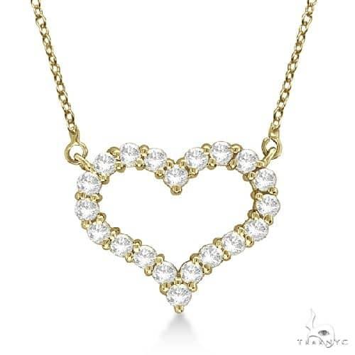 Open Heart Diamond Pendant Necklace 14k Yellow Gold Stone