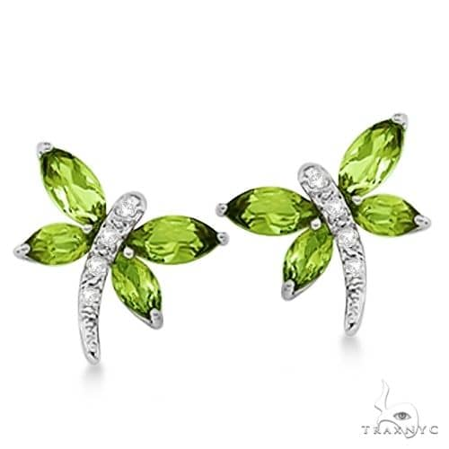 Diamond and Peridot Dragonfly Earrings 14k White Gold Stone