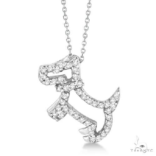 Diamond Dog Pendant Necklace Pave-Set 14K White Gold Stone