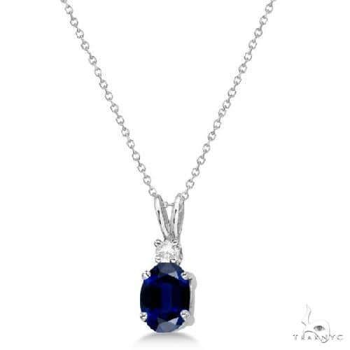 Oval Sapphire Pendant with Diamonds 14K White Gold Stone