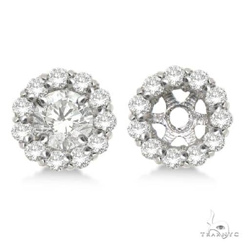 Round Diamond Earring Jackets for 8mm Studs 14K White Gold Stone
