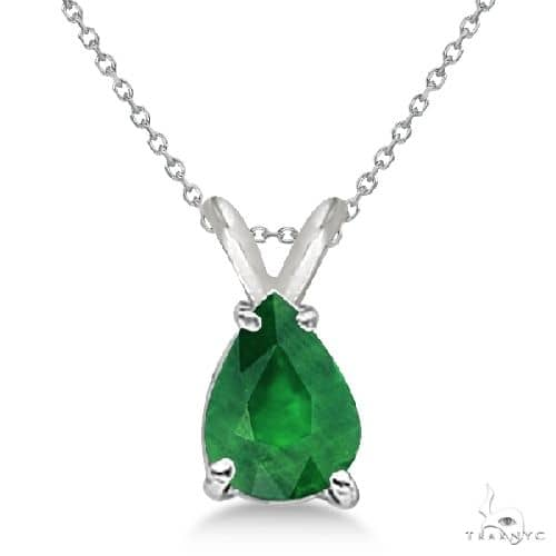 Pear Cut Emerald Solitaire Pendant Necklace 14K White Gold Stone
