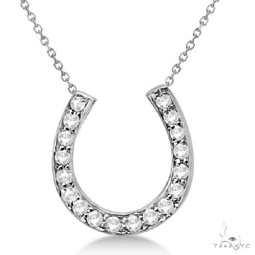Ladies Diamond Horseshoe Pendant Necklace in 14K White Gold Stone