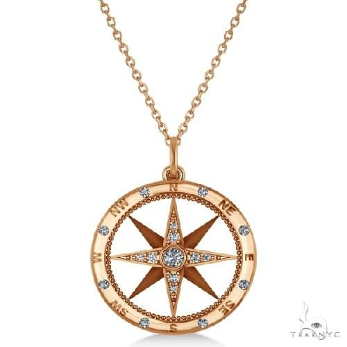 Compass Necklace Pendant Diamond Accented 14k Rose Gold Stone