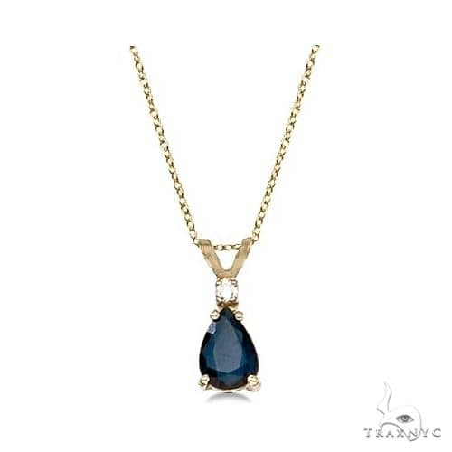 Pear Blue Sapphire and Diamond Solitaire Pendant Necklace 14k Yellow Gold Stone