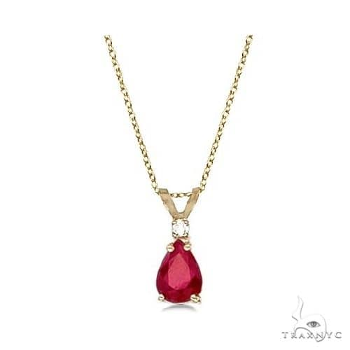 Pear Ruby and Diamond Solitaire Pendant Necklace 14k Yellow Gold Stone